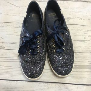 Kate Spade Keds | Navy Glitter Shoes Satin Laces